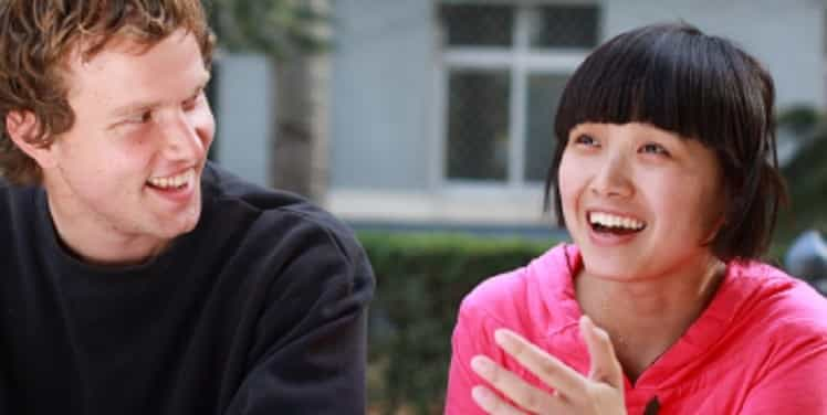 tutor and student sharing a joke
